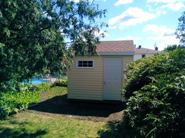 10x10 storage shed, offset door