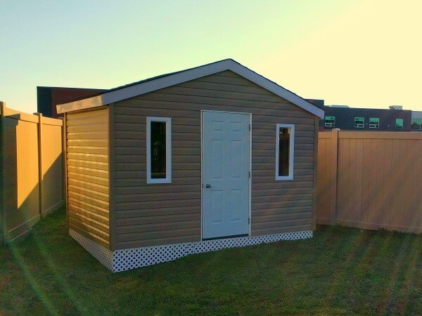 12x8 Gable shed with steel door and white lattice, Summit Sheds, Ottawa Ontario