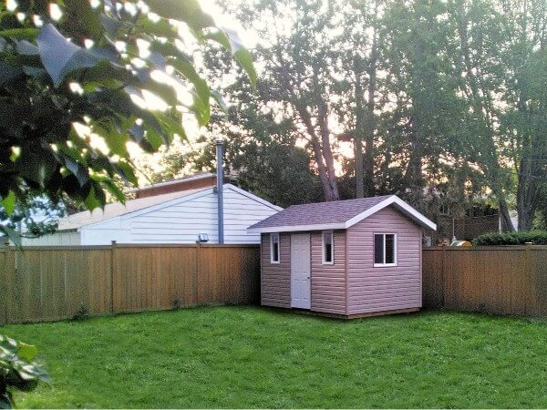 9x12 pool Shed, overhang and soffits, large operating window - Summit Sheds, Ottawa
