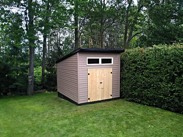 9x12-Modern Shed, contemporary shed, barn doors, transom windows - Summit Sheds, Ottawa Ontario