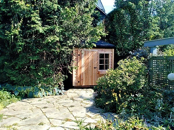 Cedar-lean-to shed, space saver shed, spacesaver, bicycle shed - Summit Sheds, Ottawa