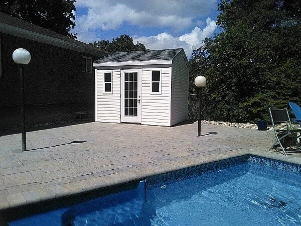 8x10 pool cabana, french door, white accents