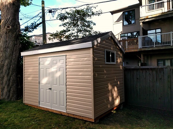 8x12 yard shed with double steel doors