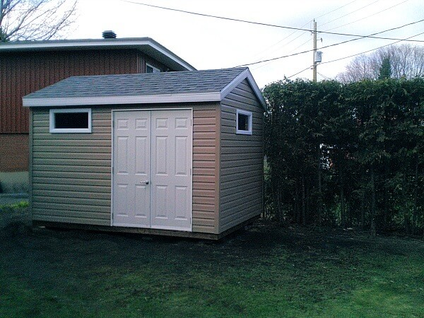 8x12 backyard Shed, offset double doors, privacy windows