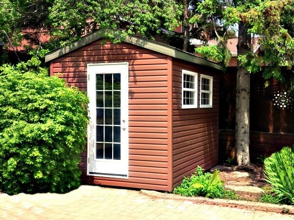 7x9 gable shed with french door and double windows, premium siding, Summit Sheds, Ottawa Ontario