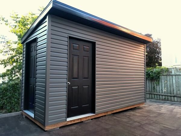 8x12 Modern Shed, premium dark vinyl siding, black accents, two entries
