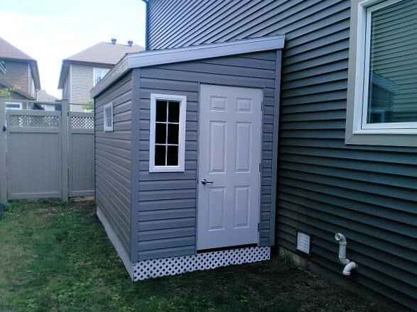 5x8 Lean-to shed, door on each end, lattice skirting, Summit Sheds, Ottawa