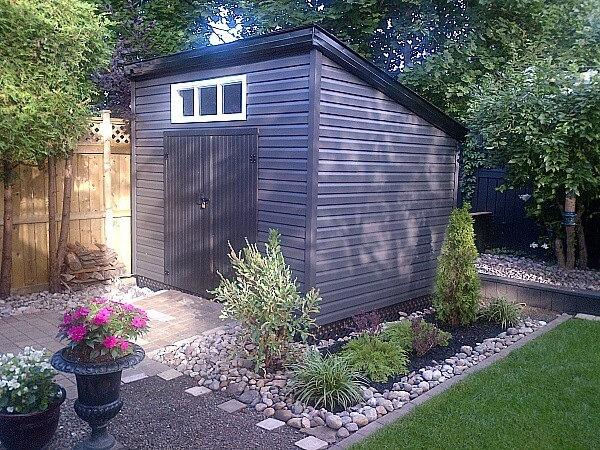 8x 10 Modern Shed, black accents, barn doors - Summit Sheds, Ottawa