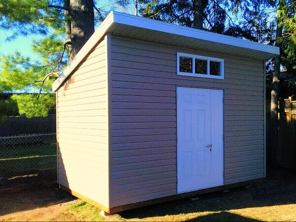 Summit Sheds, Ottawa - 8x12 Modern Shed, door and half, transom window, white accents