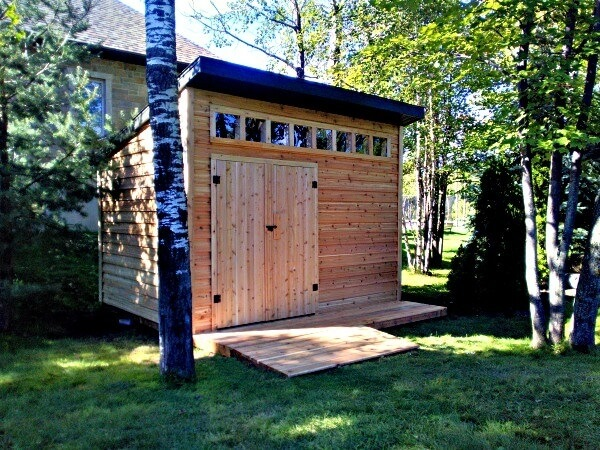 9x12 Modern Cedar Shed, western red cedar, double doors, custom windows, ramp with deck - Summit Sheds, Ottawa Ontario