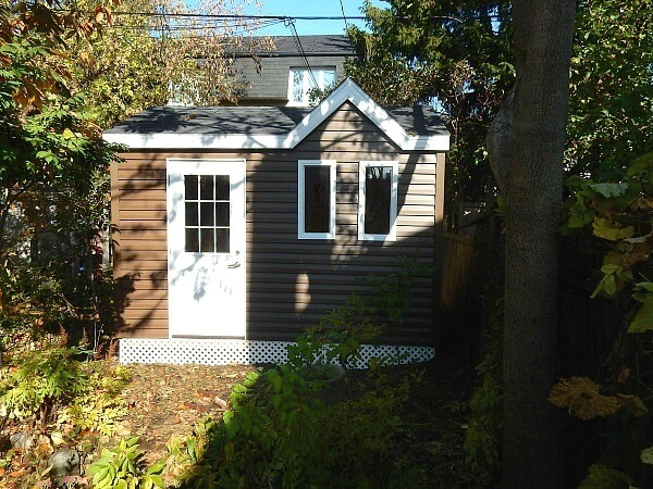 8x12 Victorian shed with offset dormer, 1/2 light door - Summit Sheds, Ottawa Ontario