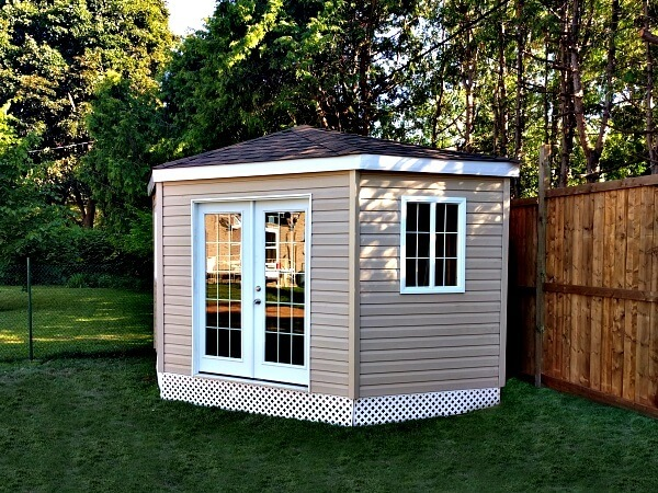 Pentagon style shed 11x11. Shed Designs, Large Sheds, Wood Sheds, Outdoor Storage