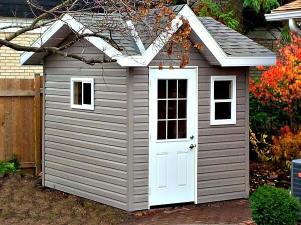 8x10 Victorian pool shed, 1/2 light door, soffits and overhang - Summit Sheds, Ottawa
