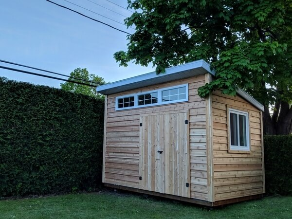 Summit Sheds, Ottawa - 8x12 western red cedar shed, barn doors, large windows, additional windows