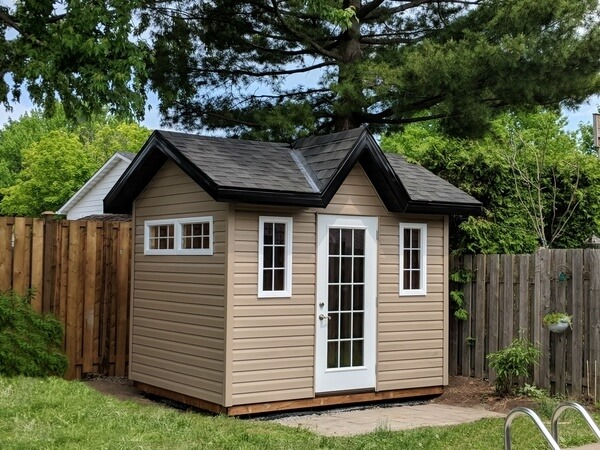 8x12 Victorian pool shed, french door, grilled windows, black and white accents - Summit Sheds, Ottawa