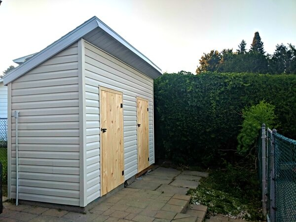 5x16 Modern shed, pool change rooms, wood doors - Summit Sheds, Ottawa Ontario