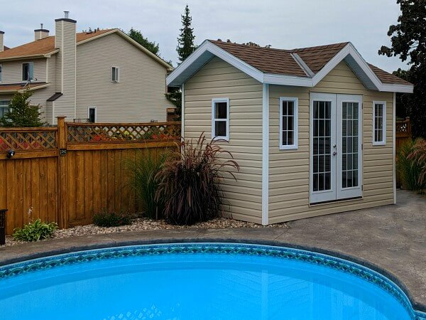 8x12 Victorian pool cabana with double dormer and double french doors, soffits and overhang - Summit Sheds, Ottawa