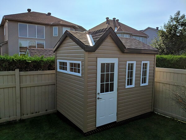 8x10 Victorian Shed with offset dormer, 1/2 light door, additional windows- Summit Sheds, Ottawa