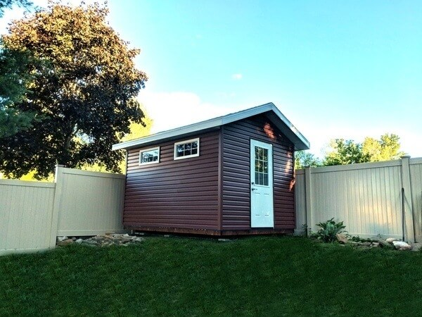 Summit Sheds, Ottawa, - 9x12 gable shed with premium siding, 1/2 light door, soffits