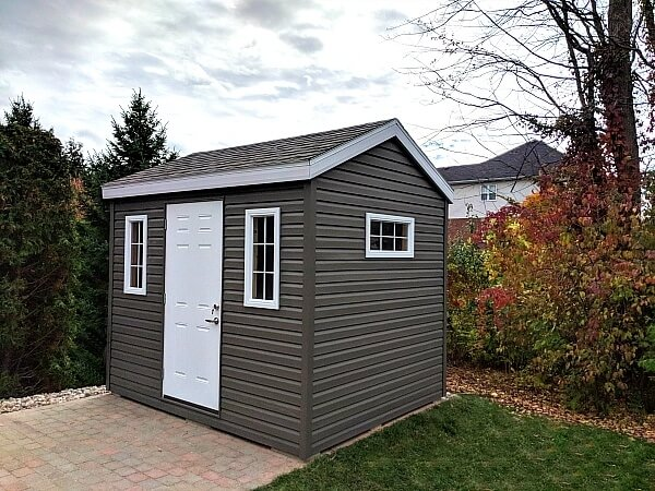 8x10 with premium dark vinyl siding