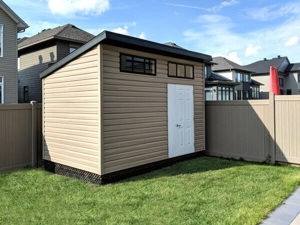 9x12 contemporary shed, modern shed, large black windows, door and a half offset, premium vinyl siding - Summit Sheds, Ottawa Ontario