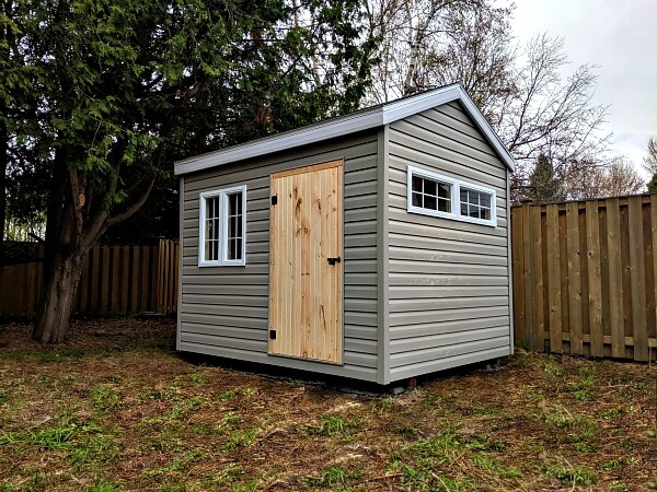 8x10 Classic shed, large window and additional windows, wood door