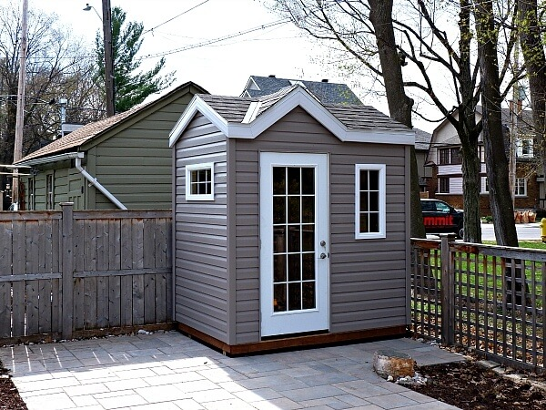 8x8 Victorian shed, french door, white accents - Summit Sheds, Ottawa