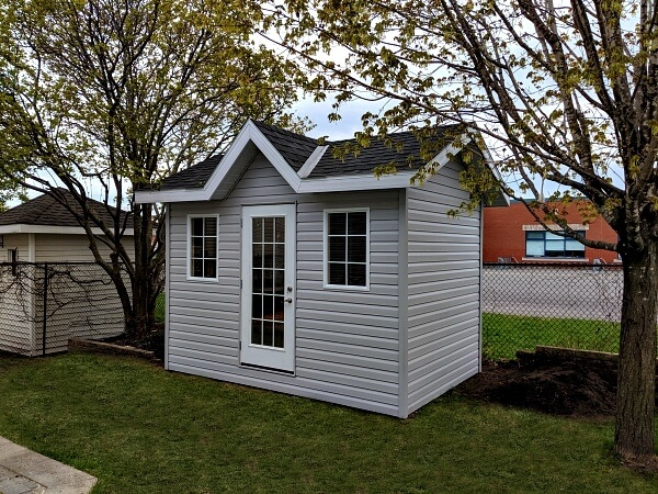 Summit Sheds, Ottawa - 8x12 Victorian Shed, french door, overhang and soffits, large windows
