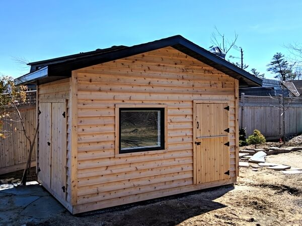 8x12 cedar shed with dutch door and double doors, custom window - Summit Sheds, Ottawa