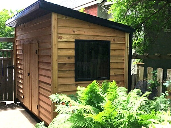 8x12 Modern red cedar shed, contemporary shed - large black window - Summit Sheds, Ottawa Ontario