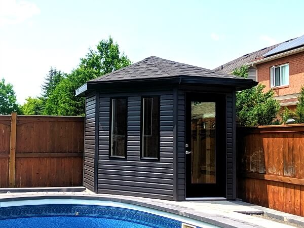 8x8 pentagon shed, 5 sided shed, modern, black accents, glass doors - Summit Sheds, Ottawa
