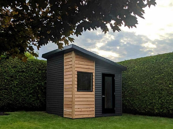 8x10 Artisan Shed, western red cedar and premium vinyl siding, glass door and large window - Summit Sheds, Ottawa