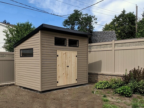 8x12 modern shed, contemporary shed -barn doors, black windows - Summit Sheds, Ottawa
