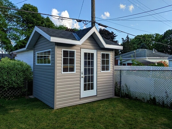 8x10 Victorian with french door and large windows, overhang and soffits - Summit Sheds, Ottawa