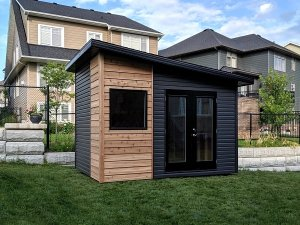 9x12 Artisan shed, modern, black accents, double glass doors, large window, cedar siding and premium vinyl siding - Summit Sheds, Ottawa, Ontario