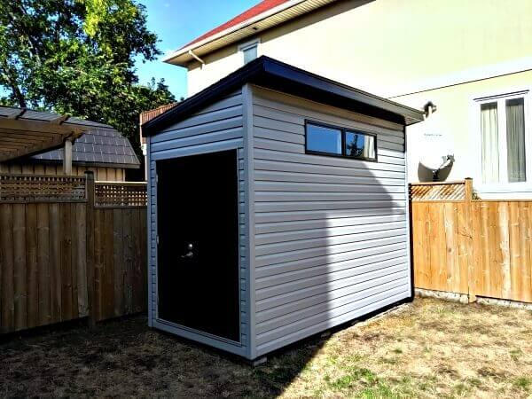 8x12 Artisan Shed, modern look, black accents, double steel doors - Summit Sheds, Ottawa