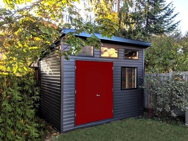Summit Sheds, Ottawa - 8x12 Modern shed, contemporary shed, premium vinyl siding, double steel doors, additional windows