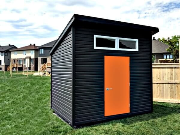 Summit Sheds, Ottawa Ontario - 8x10 Modern shed, dark premium siding, steel door, windows