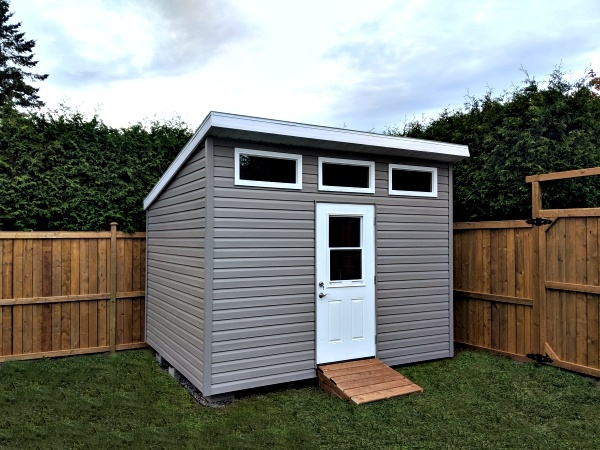 9x12 Modern shed, contemporary shed, 1/2 light door, additional windows, ramp - Summit Sheds, Ottawa
