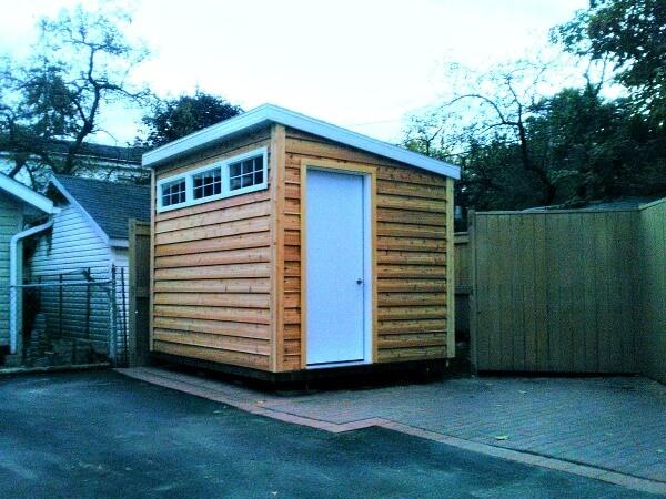 Summit Sheds, Ottawa - 8x12 Modern cedar shed, western red cedar, white accents