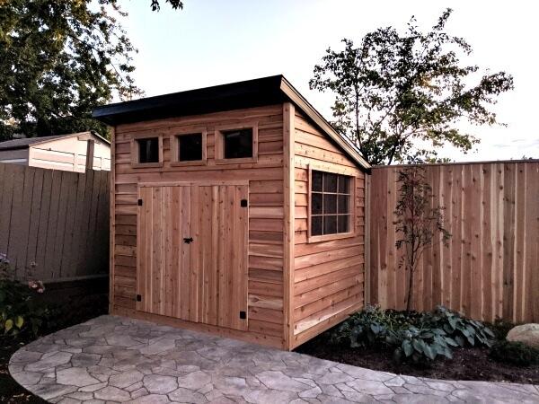 8x10 Modern western red cedar shed, barn doors, custom windows, large window - Summit Sheds, Ottawa