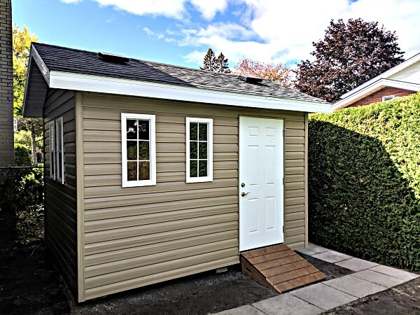 8x12 with steel door, additional windows, roof vents, overhang with vented soffits - Summit Sheds, Ottawa