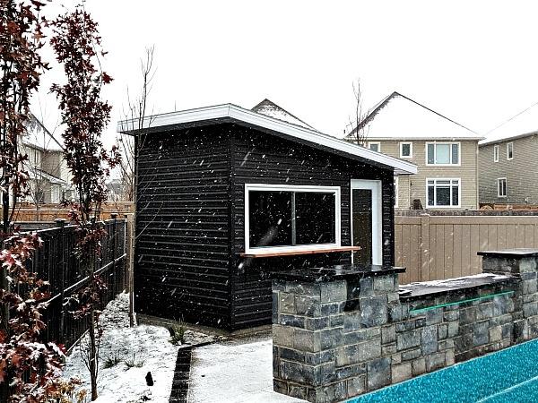 Artisan shed, 8x12, dark premium vinyl siding, bar shed, large serving window, glass door - Summit Sheds, Ottawa