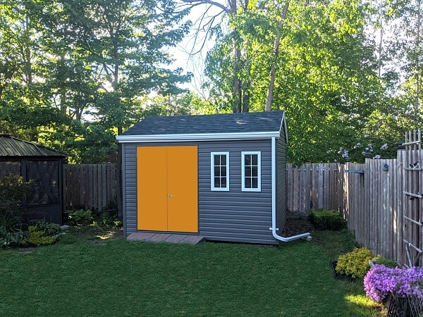 shed with tangerine doors