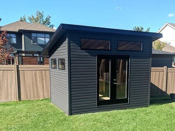 dark grey modern shed